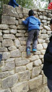 石垣のぼりする子
